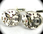 SALE Steampunk Cufflinks Featuring Vintage Watch Movements by Nouveau Motley