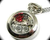 THE ORIGINAL Petite Steampunk Pocket Watch Necklace with Rose by Nouveau Motley