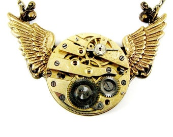"Steampunk Wing Necklace Baby ""MECHANICAL WINGS in Flight"" Circa 1800s Pocket Watch - Nouveau Motley Exclusive"