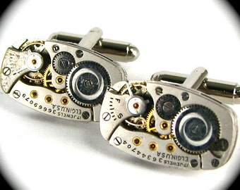 Steampunk Vintage Clockwork Cufflinks with Ruby Jewels and GOLD Bezels Perfectly Matched ELGIN Oval Cuff Links
