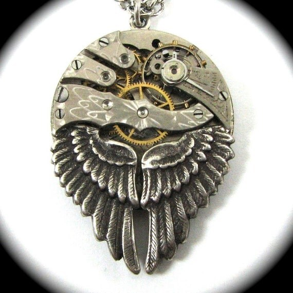 Steampunk Wing Necklace - Petite Mechanical Wings - Circa 1880s Pocket Watch Movement with Gorgeous Guilloche Engraving