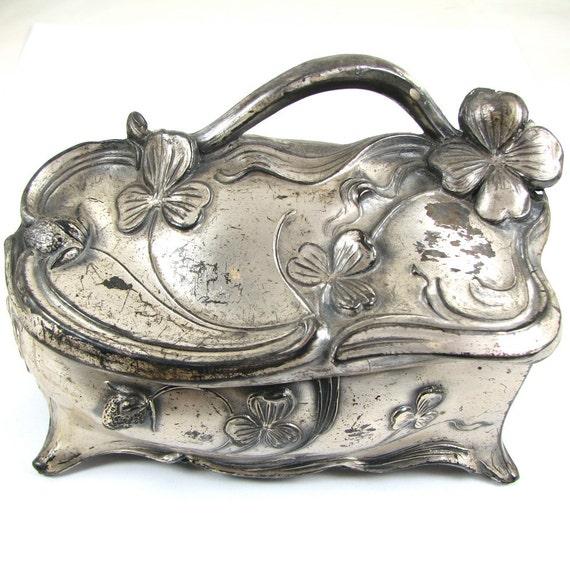Medium Sized  Silver Art Nouveau Trinket Box - Clover Motif - Think of Me - Signed-  CIRCA 1910