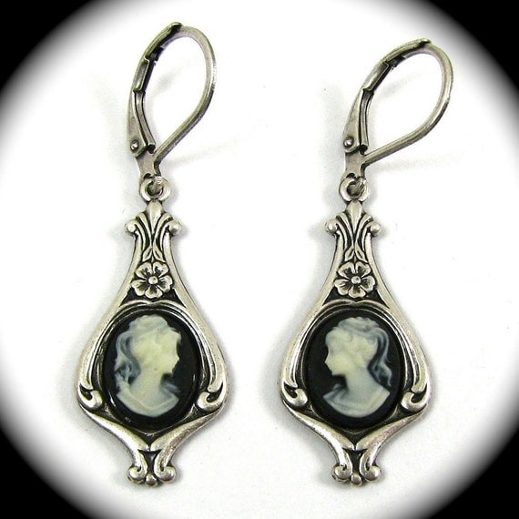 Dainty Black and Cream Cameo Earrings in Silver
