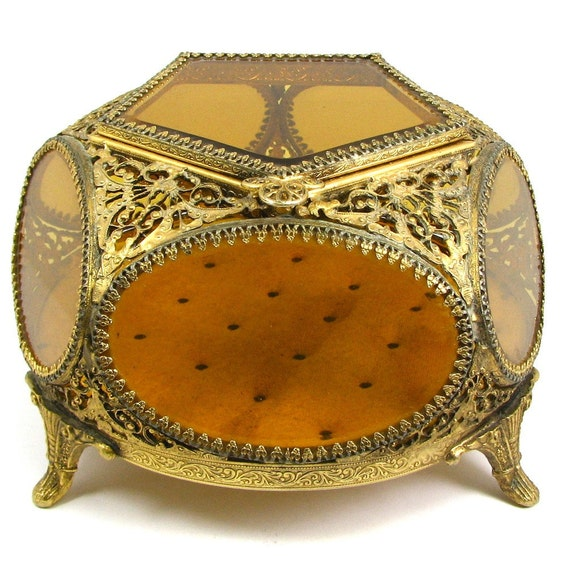 UNIQUE LARGE Size Ormolu Jewelry Casket with Beveled Amber Glass - Made by Guildcrest- CIRCA 1940
