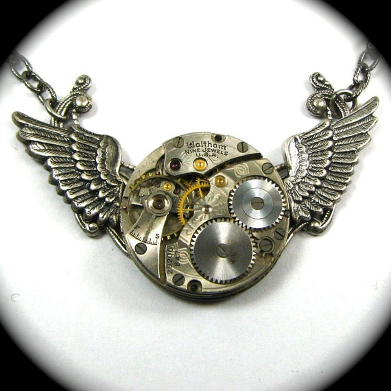 Steampunk Wing Necklace - Baby Mechanical WINGS in Flight - 1800s WALTHAM Pocket Watch Necklace with GORGEOUS Engraving by Nouveau Motley