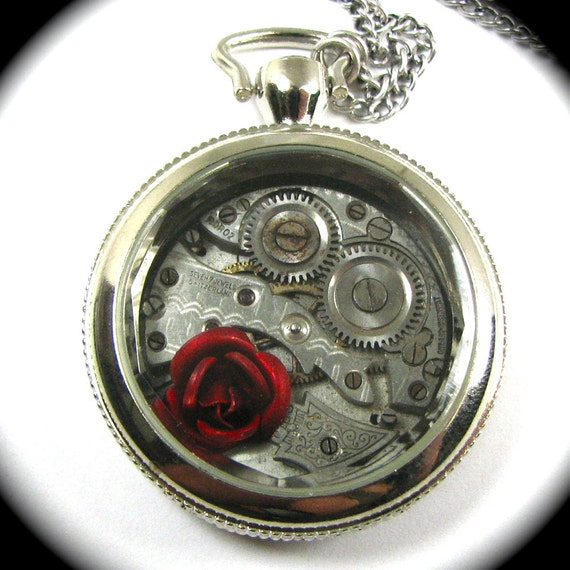 The ORIGINAL Steampunk Pocket Watch Necklace with Rose by Nouveau Motley