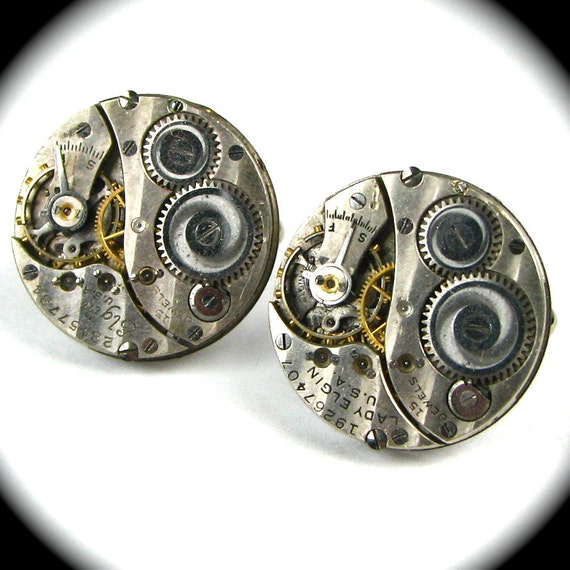 STRIPED Guilloche Round Steampunk Clockwork Cufflinks with Ruby Jewels Elgin - Very SPECIAL Pair by Nouveau Motley