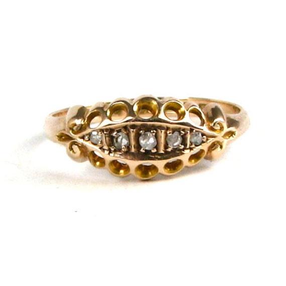 SALE 25% OFF A Stunning Edwardian Genuine Diamond Boat Ring 9 Karat Rose Gold  Size 7 Fully Hallmarked English Made BIRMINGHAM 1911