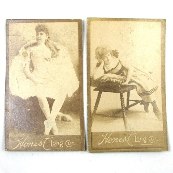 1888 Victorian Tobacco Cards Honest Long Cut Risque Ladies Actresses and Dancers Lot of 2 BALLERINA