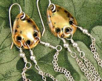 FLOW 3 dangling EARRINGS golden enamel on fine silver with long sterling chains