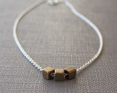 Brass Cubes Necklace Sterling Silver Mixed Metal Everyday Simple Modern Style Layering Jewelry Handmade