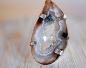 Geode Slice Ring Raw Crystal Agate