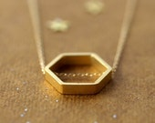 Golden Geometry Necklace Gold Hexagon Jewelry
