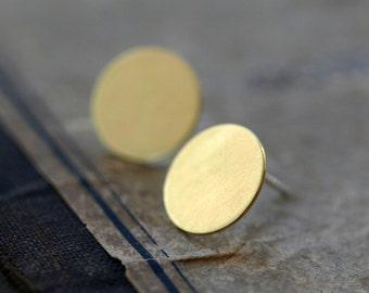 Brass Dot Earrings, Brass Circle Studs, Golden Disk Earrings, Big Disc Earrings, Sterling Silver Post, Minimal Brass Jewelry