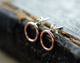 Open Circle Copper Earrings, Copper Circle Earrings, Sterling Silver Post, Minimal Earrings, Copper Hoops, Copper Studs, Handmade Jewelry