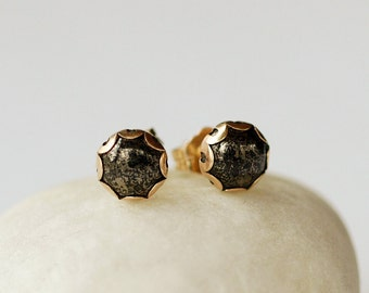 Pyrite Stud Earrings, Fool's Gold Earrings, Pyrite Earrings, Gold Scalloped Posts, 14k Gold Filled, 6mm Size Gemstone Dot, Handmade Jewelry
