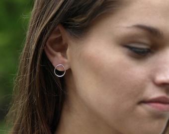 Sterling Silver Oval Earrings, Hammered Oval Posts, Simple Organic Shape, Modern Minimal Oval Earrings, Handmade Jewelry