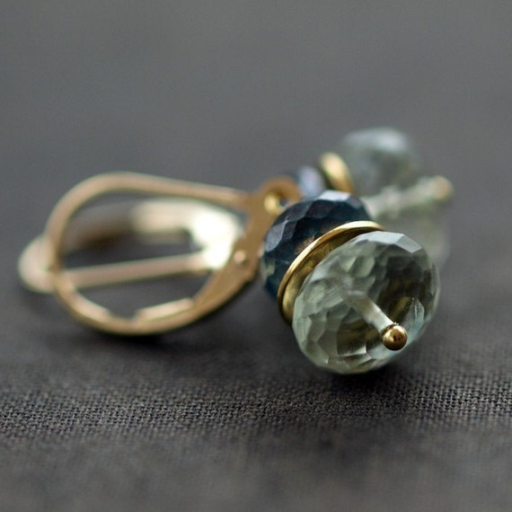 Green Amethyst and Blue Topaz Earrings Gemstone Stack Stacking Leverback Earwires Handmade Jewelry