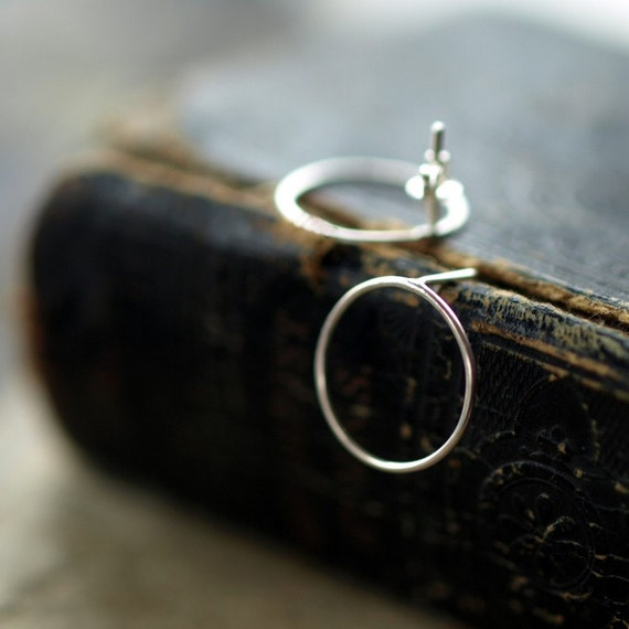 Simple Circle Earrings,  Sterling Silver Posts, Open Circle Posts, Minimal Jewelry, Modern Silver Earrings, Everyday Sterling Jewelry