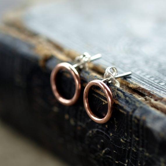 Open Circle Copper Earrings, Copper Circle Earrings, Sterling Silver Post, Minimal Earrings, Copper Hoops, Copper Studs, Handmade Jewelry