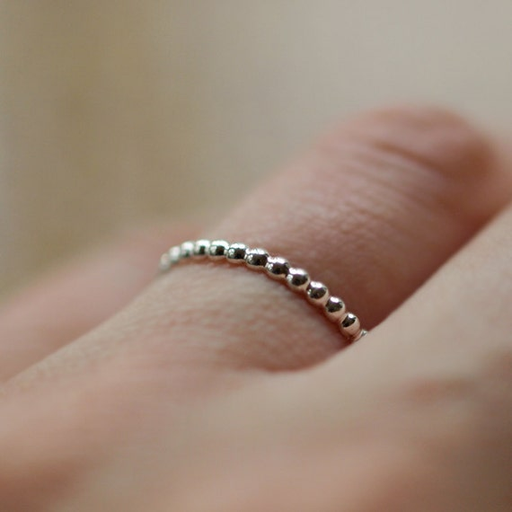 Silver Dotted Ring, Dotted Band, Sterling Silver Ring, Stackable Silver Ring, Stacking Jewelry, Layering Band, Circle Ring, Dot Ring