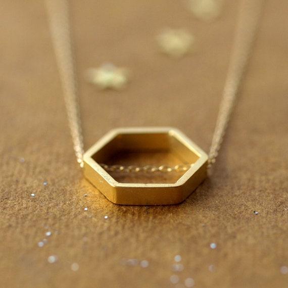 Golden Geometry Necklace Gold Hexagon Jewelry