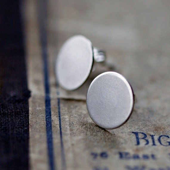 Sterling Silver Dot Earrings Post Studs Circle Disk Disc Handmade Jewelry