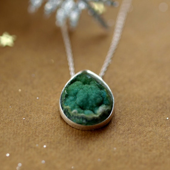 Verdant Green Jasper Druzy Necklace