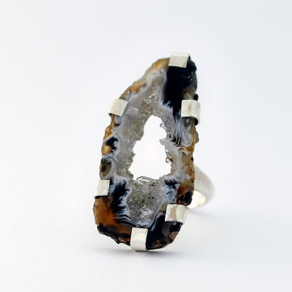 Geode Slice Statement Ring Raw Crystal Agate Black Tan White Cocktail Ring Handmade Jewerly