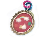 RESERVED: happy rainbow bunny pendant