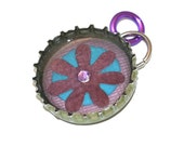 RESERVED - purple & teal flower pendant