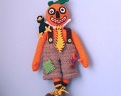Primitive Halloween Doll With Crow, Mr Pumpkinhead and Crackerjack - Instant Download