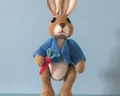 Crochet Pattern - Robbie Rabbit, Crocheted Amigurumi Bunny Rabbit Doll, Similar to Peter Rabbit, Instant Download