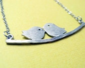 Two Birdies on a Branch Silver Necklace