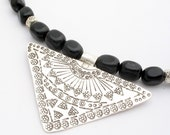 Extraordinary 9  to 5 - Sterling Silver and Black Agate Necklace