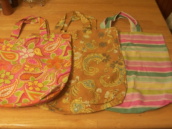 Set of 3 Sturdy Reusable Grocery Bags Market Totes