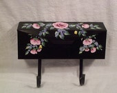 HAND PAINTED BLACK MAILBOX - FLORAL HANDPAINTED
