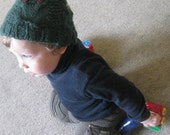 Jade Green Cable Knit Unisex Toddler Owl Hat - NZ Merino, Angora and Nylon WOOL Blend - Owl be Plenty Toasty in this Hat