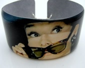 Audrey Hepburn INCOGNITO Resin art cuff bangle bracelet Vintage celebrity icon photo wide band lightweight photograph picture jewelry