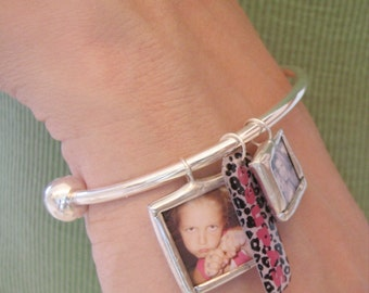 Custom photo memory soldered glass charm reversible with your 2 pictures or images on an adjustable silver cuff bracelet
