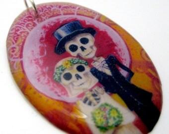 Bride and her Groom Resin art pendant charm- featuring original sugar skull artwork by FloweroftheDead skeleton wedding dark goth