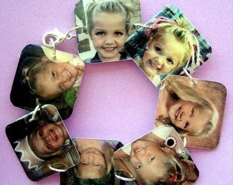 Custom resin keepsake memory lightweight square charm bracelet 7.5 inch personalized with your photos or images mom jewelry gift album