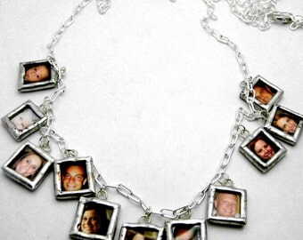 Custom glass photo memory multiple charm cha cha necklace reversible with your pictures great Mothers Day Gift Christmas family personalized