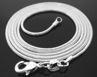 16 inch .925 sterling silver 1mm snake chain necklace Perfect for my pendants smooth shiny simple lobster clasp