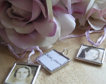 Custom WEDDING CHARM photo memory soldered glass personalized charms reversible with your 2 pictures or images boutonniere bridesmaid groom