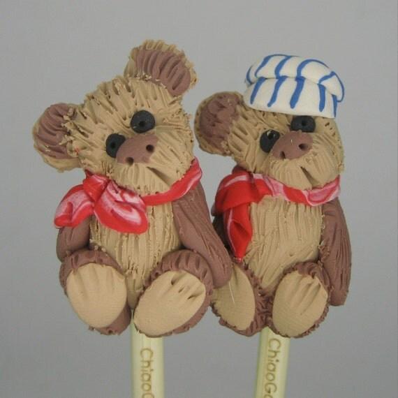 Vintage look mohair Teddy Bear bamboo knitting needles FR3E US SHIPPING