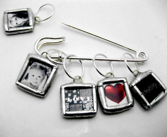 Custom soldered knitting stitch markers photo memory glass mini charms reversible with your pictures personalized gift pin heirloom brooch