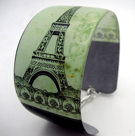 Resin art cuff bangle bracelet - Eiffel Tower Paris France vintage postcard grunge mint green black lightweight art shabby chic