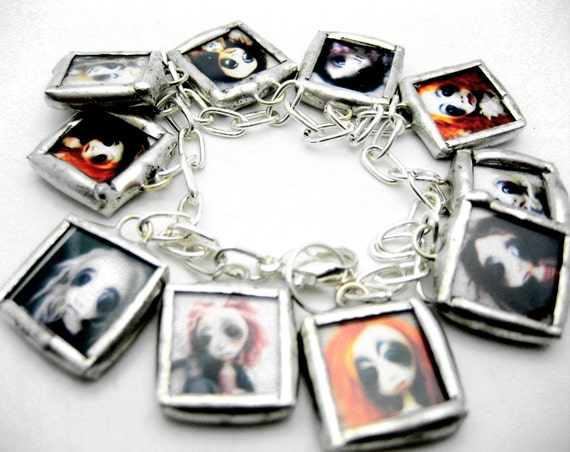 Custom glass photo art charm cha cha bracelet reversible with images from LoopyBoopy artist Colleen Downs portable photo album designer goth