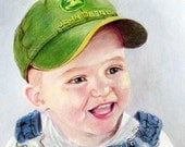 Cute Children's portrait, custom portrait - 11 x 14 of child who is full of personality and charm, Unique Gift Idea